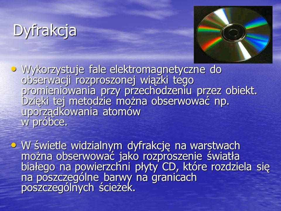 Dyfrakcja Wykorzystuje fale elektromagnetyczne do obserwacji rozproszonej wiązki tego promieniowania przy przechodzeniu przez obiekt. Dzięki tej metod