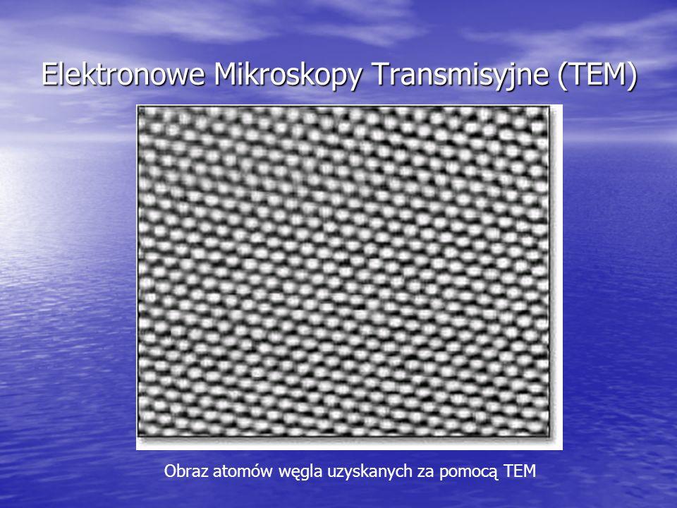 Skaningowe mikroskopy elektronowe (SEM) Skupiony strumień elektronów omiata próbkę, następnie wykrywane są elektrony odbite od powierzchni.