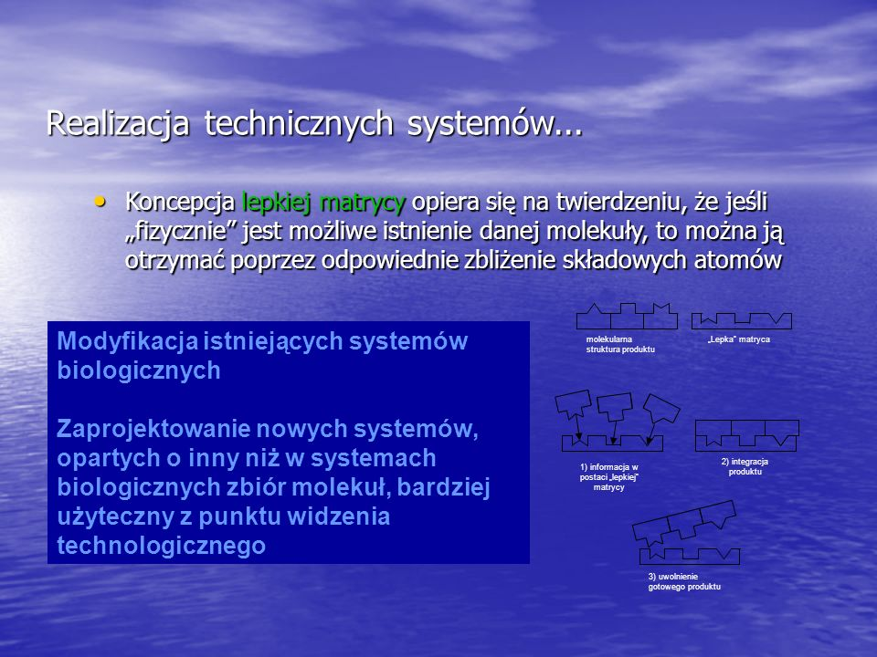 Realizacja technicznych systemów... Koncepcja lepkiej matrycy opiera się na twierdzeniu, że jeśli fizycznie jest możliwe istnienie danej molekuły, to