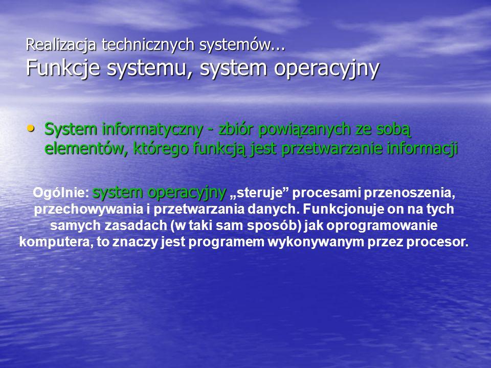system operacyjny Ogólnie: system operacyjny steruje procesami przenoszenia, przechowywania i przetwarzania danych. Funkcjonuje on na tych samych zasa