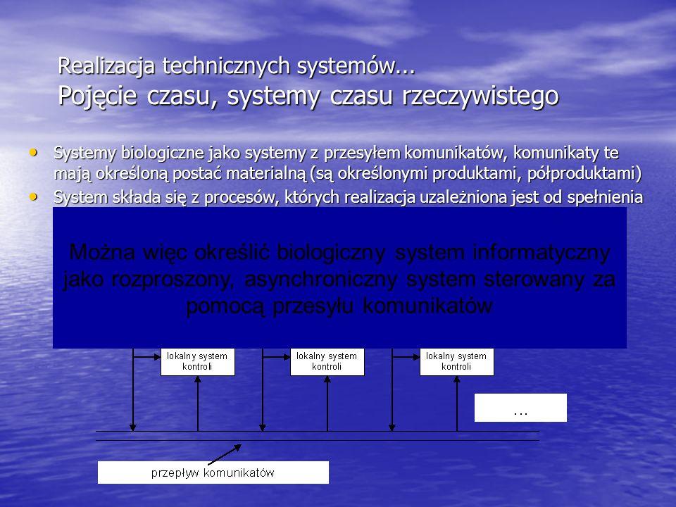 Realizacja technicznych systemów... Pojęcie czasu, systemy czasu rzeczywistego Systemy biologiczne jako systemy z przesyłem komunikatów, komunikaty te
