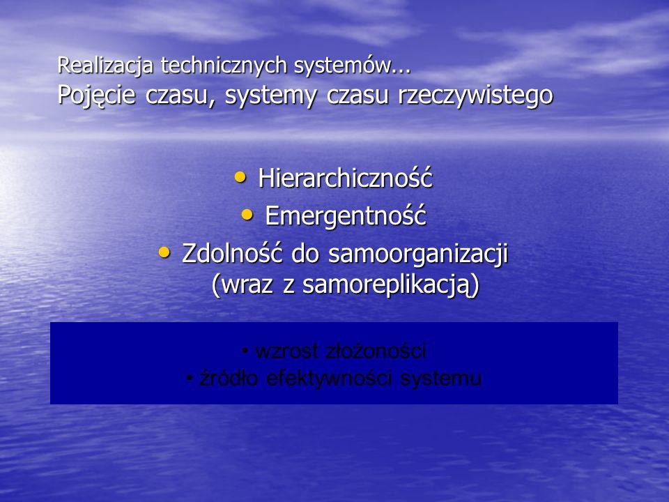 Realizacja technicznych systemów... Pojęcie czasu, systemy czasu rzeczywistego Hierarchiczność Hierarchiczność Emergentność Emergentność Zdolność do s