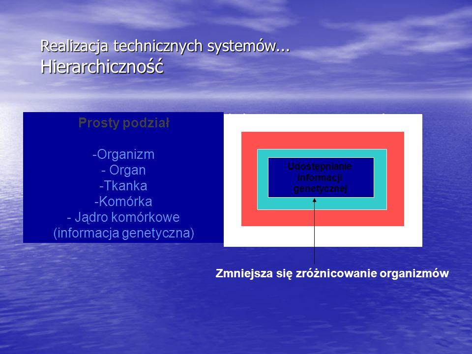 Realizacja technicznych systemów... Hierarchiczność System hierarchiczny - układ wzajemnie powiązanych podsystemów, z których każdy ma również struktu