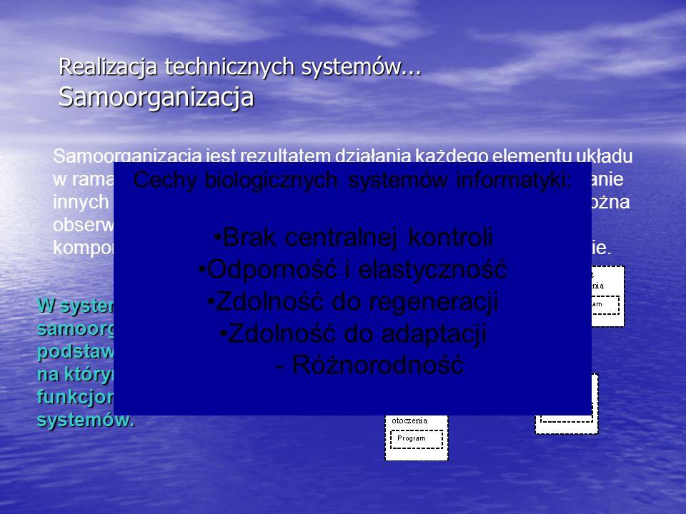 Realizacja technicznych systemów... Samoorganizacja Samoorganizacja jest rezultatem działania każdego elementu układu w ramach systemu, w warunkach st