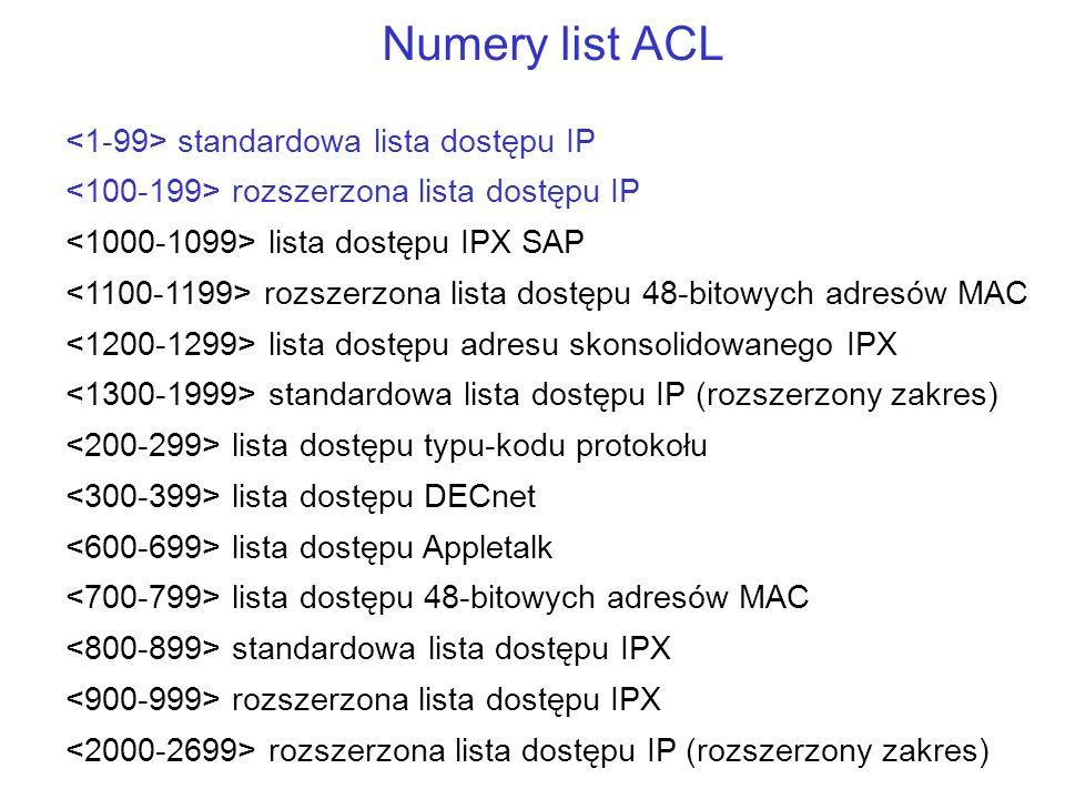 Numery list ACL standardowa lista dostępu IP rozszerzona lista dostępu IP lista dostępu IPX SAP rozszerzona lista dostępu 48-bitowych adresów MAC list