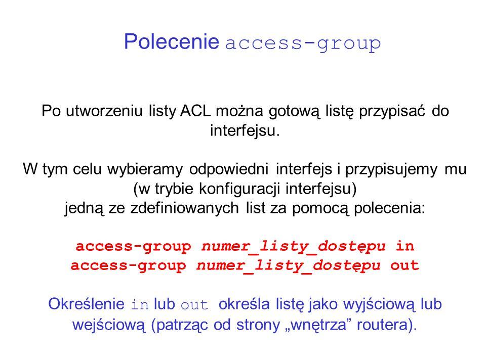 Polecenie access-group Po utworzeniu listy ACL można gotową listę przypisać do interfejsu. W tym celu wybieramy odpowiedni interfejs i przypisujemy mu