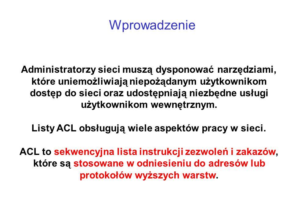 Wprowadzenie Listy ACL są listami warunków, które stosuje się względem ruchu przechodzącego przez interfejs routera.