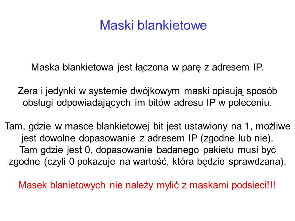 Maski blankietowe Maska blankietowa jest łączona w parę z adresem IP. Zera i jedynki w systemie dwójkowym maski opisują sposób obsługi odpowiadających