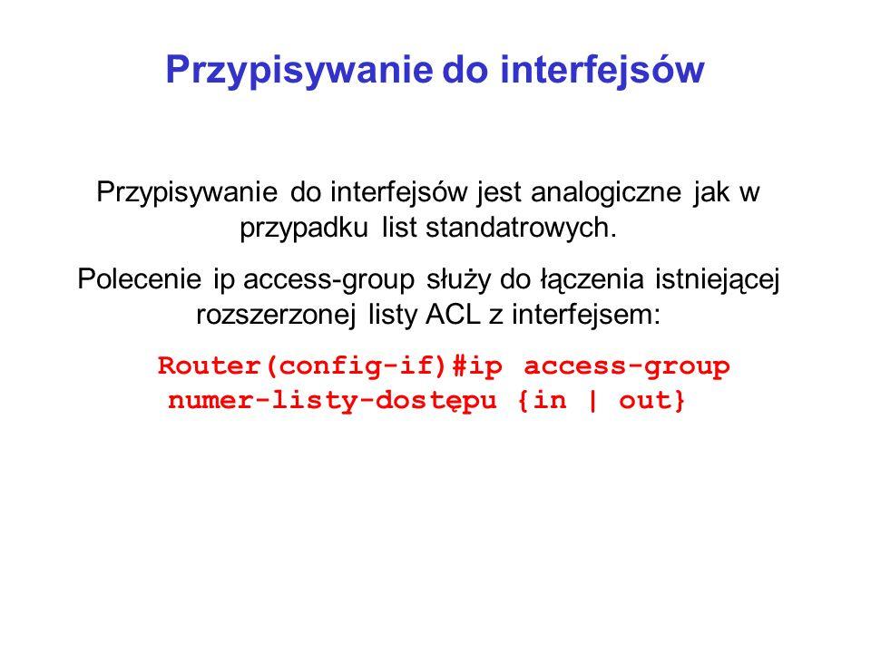 Przypisywanie do interfejsów Przypisywanie do interfejsów jest analogiczne jak w przypadku list standatrowych. Polecenie ip access-group służy do łącz