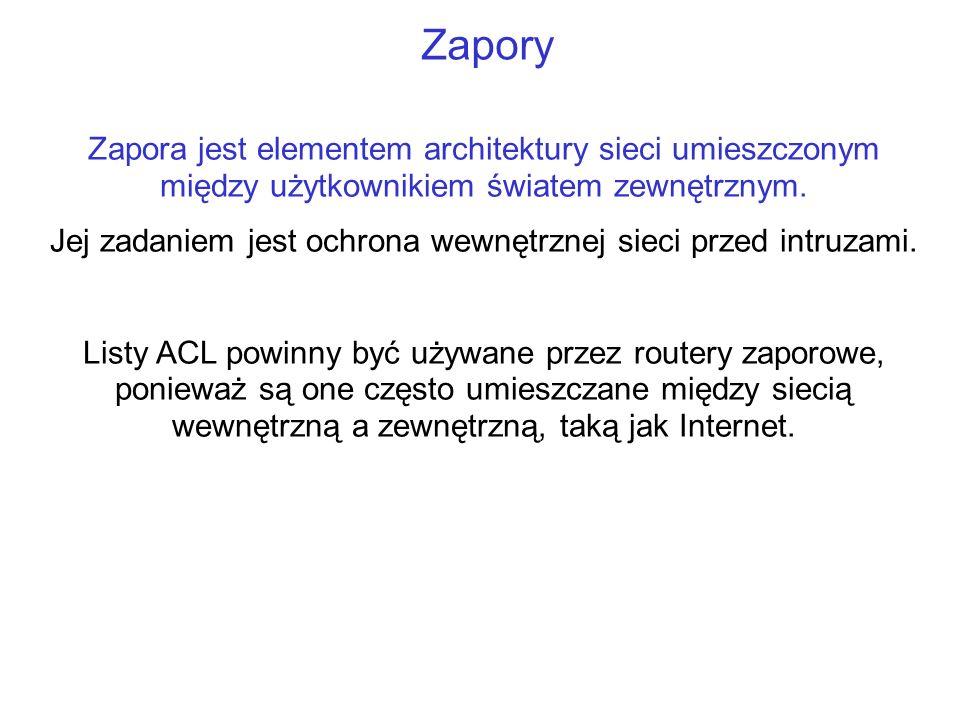 Zapory Zapora jest elementem architektury sieci umieszczonym między użytkownikiem światem zewnętrznym. Jej zadaniem jest ochrona wewnętrznej sieci prz