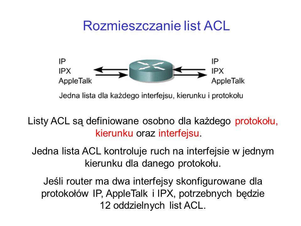 Rozmieszczanie list ACL Listy ACL są definiowane osobno dla każdego protokołu, kierunku oraz interfejsu. Jedna lista ACL kontroluje ruch na interfejsi