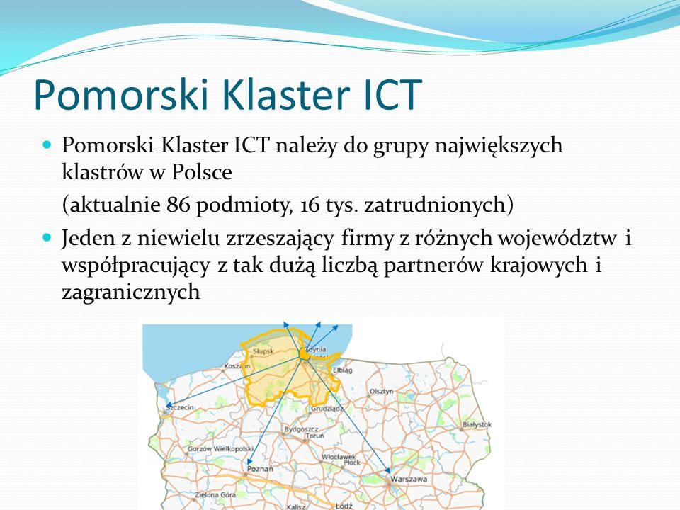 Pomorski Klaster ICT Pomorski Klaster ICT należy do grupy największych klastrów w Polsce (aktualnie 86 podmioty, 16 tys. zatrudnionych) Jeden z niewie