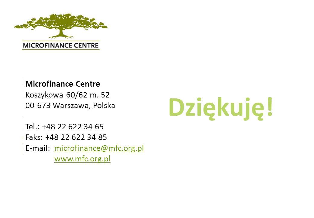 Microfinance Centre Koszykowa 60/62 m. 52 00-673 Warsaw, Poland Tel.: +48 22 622 34 65 Fax: +48 22 622 34 85 www.mfc.org.pl kasia@mfc.org.pl Dziękuję!