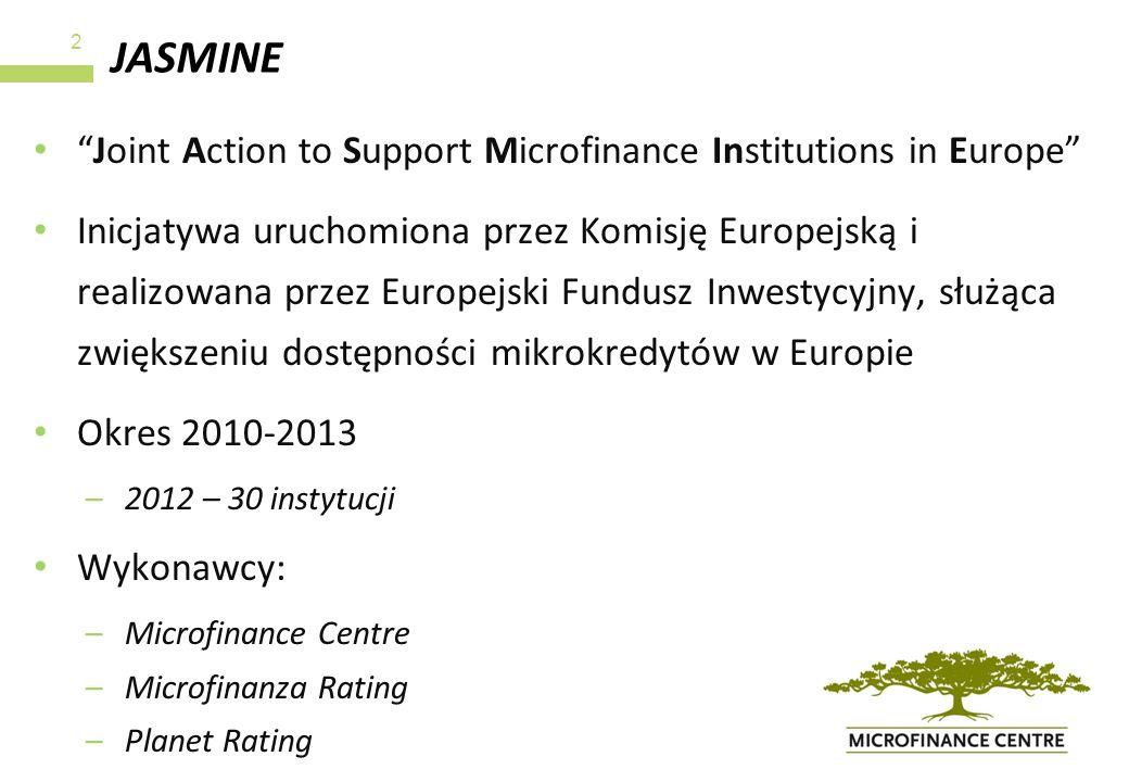 JASMINE Joint Action to Support Microfinance Institutions in Europe Inicjatywa uruchomiona przez Komisję Europejską i realizowana przez Europejski Fun