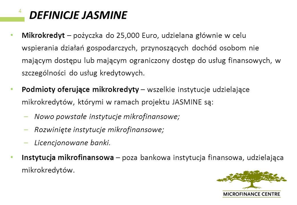 DEFINICJE JASMINE Mikrokredyt – pożyczka do 25,000 Euro, udzielana głównie w celu wspierania działań gospodarczych, przynoszących dochód osobom nie ma