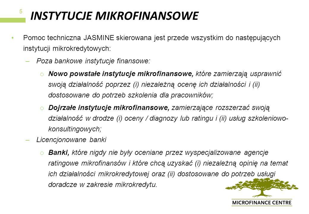 INSTYTUCJE MIKROFINANSOWE Pomoc techniczna JASMINE skierowana jest przede wszystkim do następujących instytucji mikrokredytowych: –Poza bankowe instyt