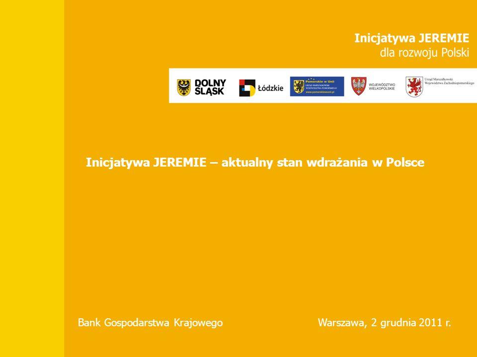 Inicjatywa JEREMIE – aktualny stan wdrażania w Polsce Bank Gospodarstwa KrajowegoWarszawa, 2 grudnia 2011 r.