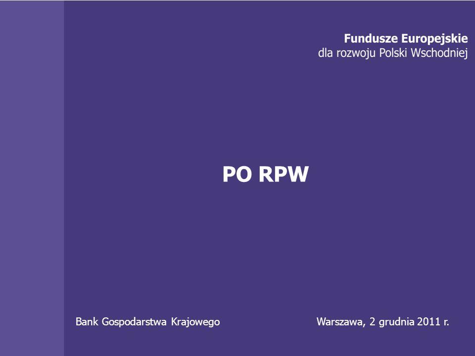 Bank Gospodarstwa Krajowego 12 PO RPW Bank Gospodarstwa Krajowego Warszawa, 2 grudnia 2011 r.