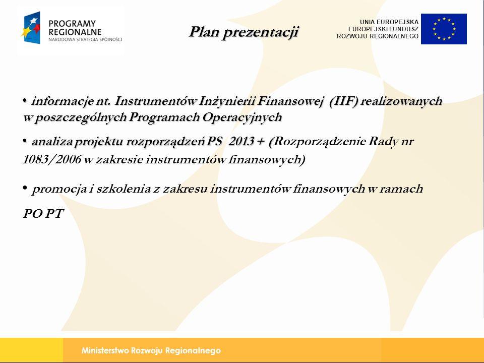 Ministerstwo Rozwoju Regionalnego UNIA EUROPEJSKA EUROPEJSKI FUNDUSZ ROZWOJU REGIONALNEGO informacje nt. Instrumentów Inżynierii Finansowej (IIF) real