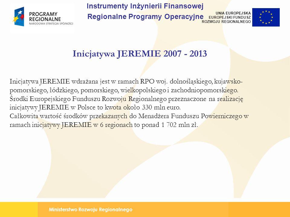 Ministerstwo Rozwoju Regionalnego UNIA EUROPEJSKA EUROPEJSKI FUNDUSZ ROZWOJU REGIONALNEGO Inicjatywa JEREMIE 2007 - 2013 Inicjatywa JEREMIE wdrażana j
