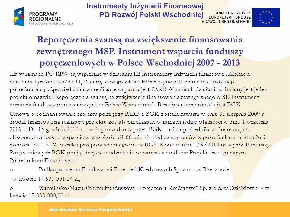 Ministerstwo Rozwoju Regionalnego UNIA EUROPEJSKA EUROPEJSKI FUNDUSZ ROZWOJU REGIONALNEGO Reporęczenia szansą na zwiększenie finansowania zewnętrznego