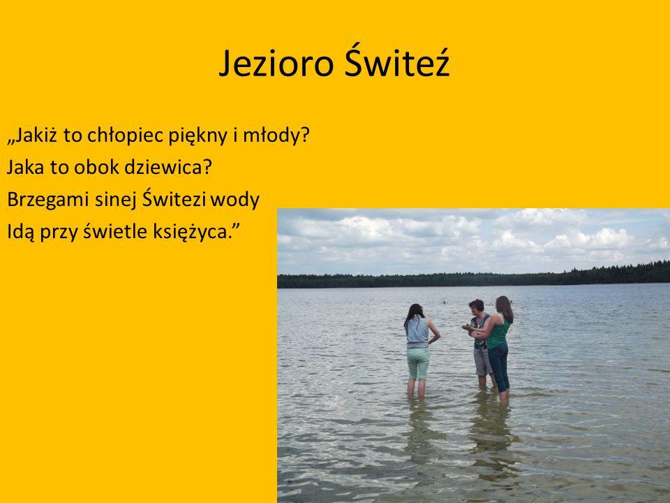 Jezioro Świteź Jakiż to chłopiec piękny i młody? Jaka to obok dziewica? Brzegami sinej Świtezi wody Idą przy świetle księżyca.