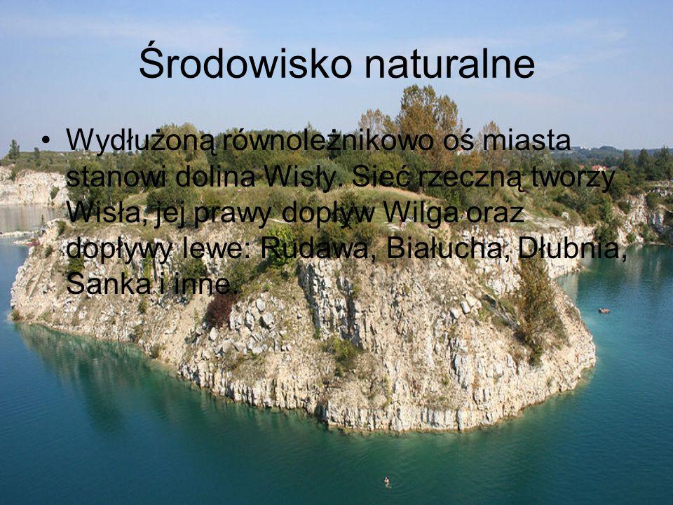Środowisko naturalne Wydłużoną równoleżnikowo oś miasta stanowi dolina Wisły.