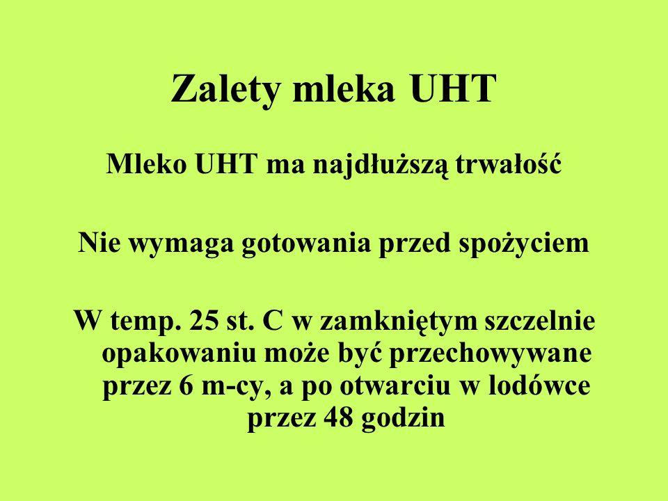 Zalety mleka UHT Mleko UHT ma najdłuższą trwałość Nie wymaga gotowania przed spożyciem W temp. 25 st. C w zamkniętym szczelnie opakowaniu może być prz
