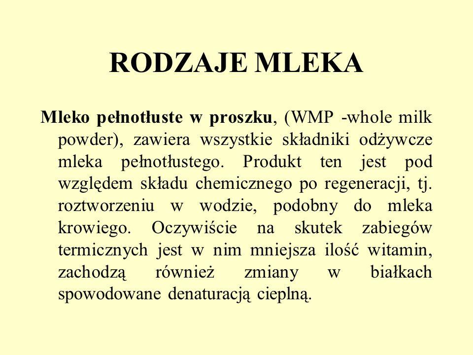 RODZAJE MLEKA Mleko pełnotłuste w proszku, (WMP -whole milk powder), zawiera wszystkie składniki odżywcze mleka pełnotłustego. Produkt ten jest pod wz