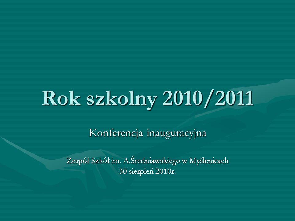 Rok szkolny 2010/2011 Konferencja inauguracyjna Zespół Szkół im. A.Średniawskiego w Myślenicach 30 sierpień 2010r.