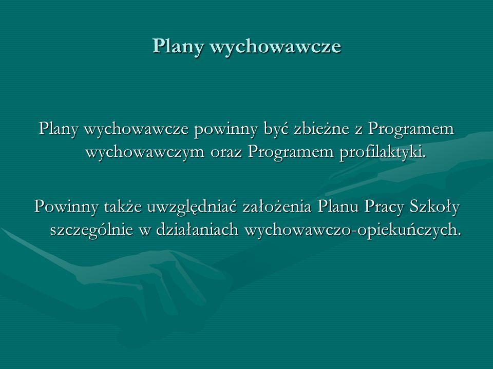 Plany wychowawcze Plany wychowawcze powinny być zbieżne z Programem wychowawczym oraz Programem profilaktyki. Powinny także uwzględniać założenia Plan