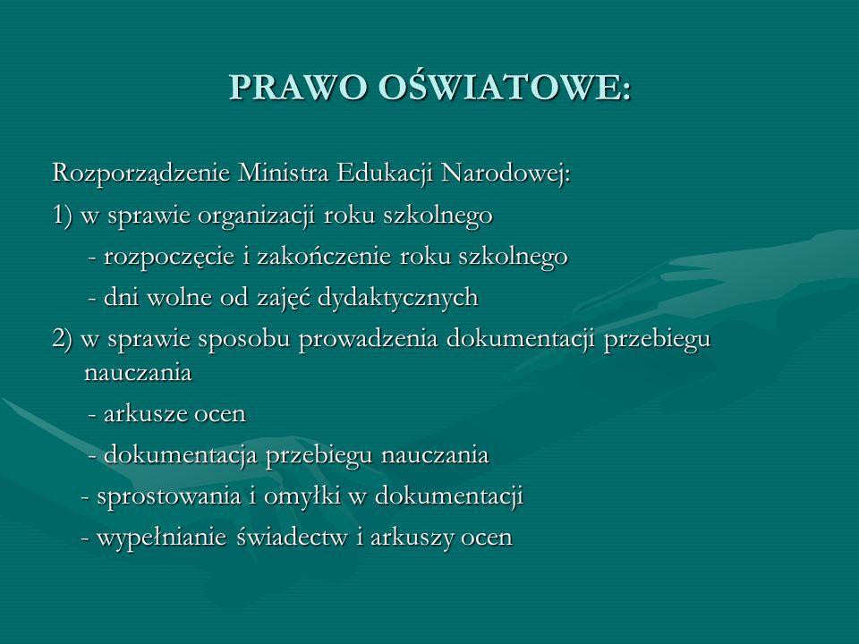 PRAWO OŚWIATOWE: Rozporządzenie Ministra Edukacji Narodowej: 1) w sprawie organizacji roku szkolnego - rozpoczęcie i zakończenie roku szkolnego - rozp