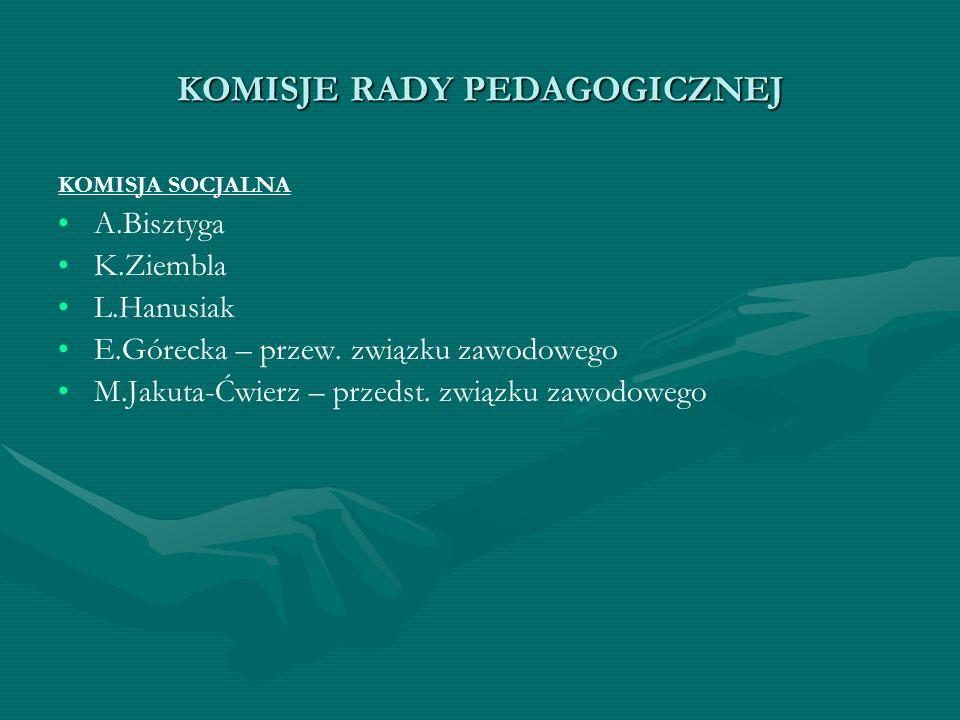 KOMISJE RADY PEDAGOGICZNEJ KOMISJA SOCJALNA A.Bisztyga K.Ziembla L.Hanusiak E.Górecka – przew. związku zawodowego M.Jakuta-Ćwierz – przedst. związku z