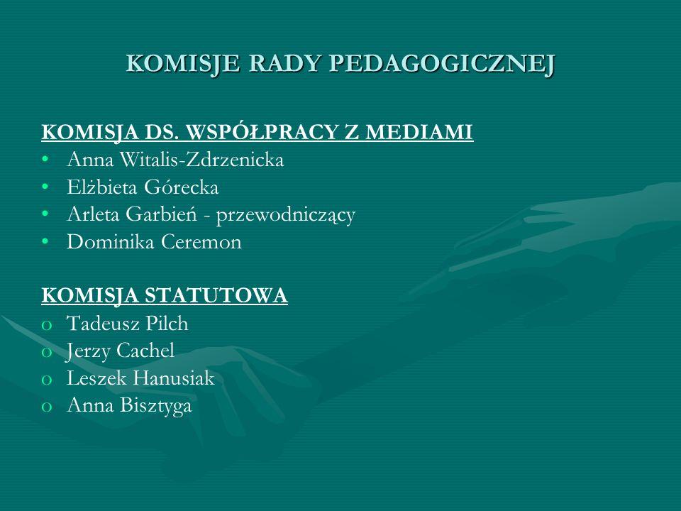 KOMISJE RADY PEDAGOGICZNEJ KOMISJA DS. WSPÓŁPRACY Z MEDIAMI Anna Witalis-Zdrzenicka Elżbieta Górecka Arleta Garbień - przewodniczący Dominika Ceremon
