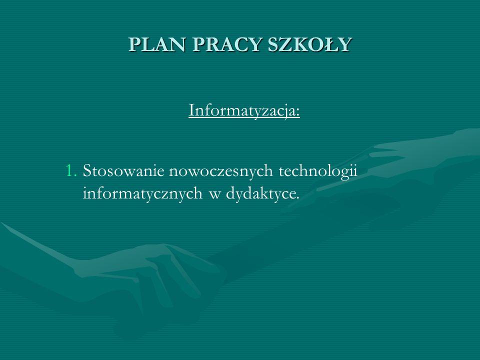 PLAN PRACY SZKOŁY Informatyzacja: 1. 1.Stosowanie nowoczesnych technologii informatycznych w dydaktyce.