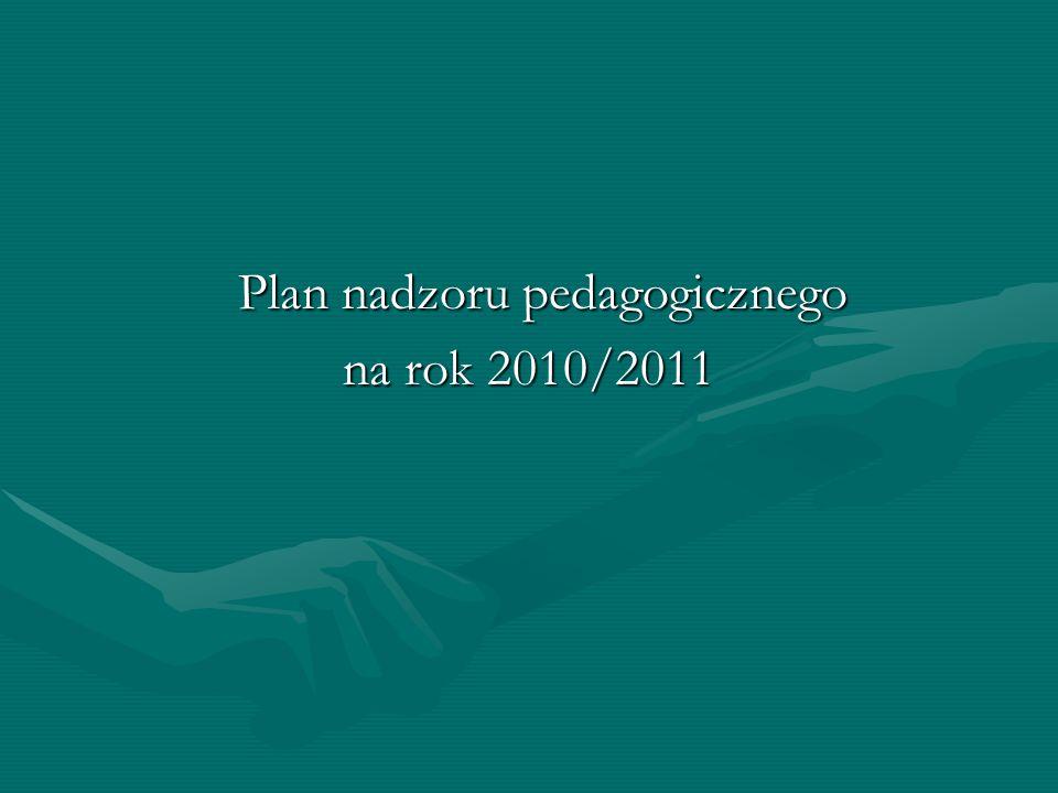 Plan nadzoru pedagogicznego Plan nadzoru pedagogicznego na rok 2010/2011