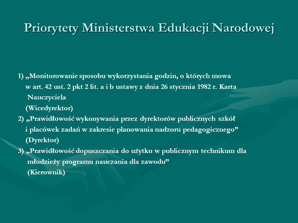 Priorytety Ministerstwa Edukacji Narodowej 1) Monitorowanie sposobu wykorzystania godzin, o których mowa w art. 42 ust. 2 pkt 2 lit. a i b ustawy z dn