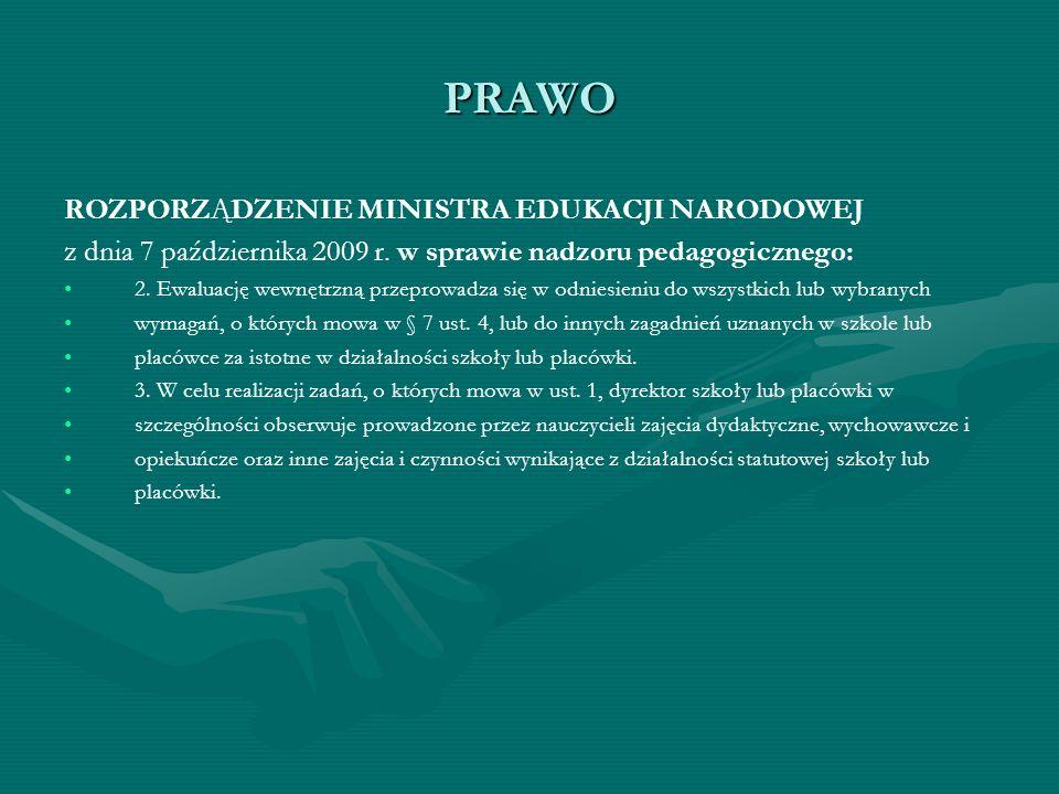 PRAWO ROZPORZĄDZENIE MINISTRA EDUKACJI NARODOWEJ z dnia 7 października 2009 r. w sprawie nadzoru pedagogicznego: 2. Ewaluację wewnętrzną przeprowadza