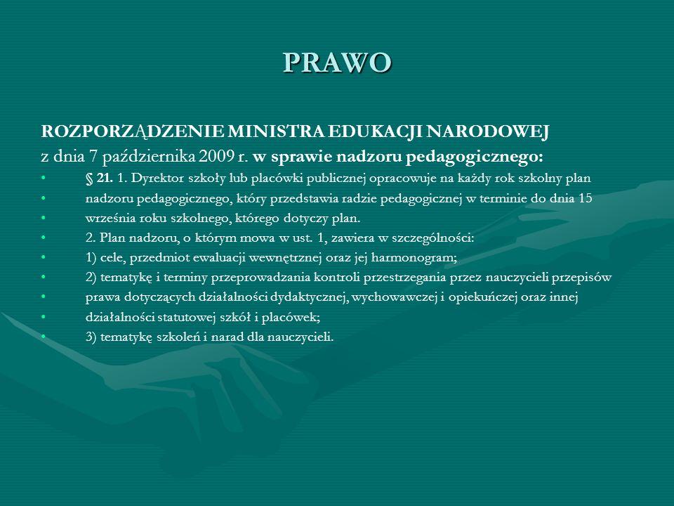 PRAWO ROZPORZĄDZENIE MINISTRA EDUKACJI NARODOWEJ z dnia 7 października 2009 r. w sprawie nadzoru pedagogicznego: § 21. 1. Dyrektor szkoły lub placówki