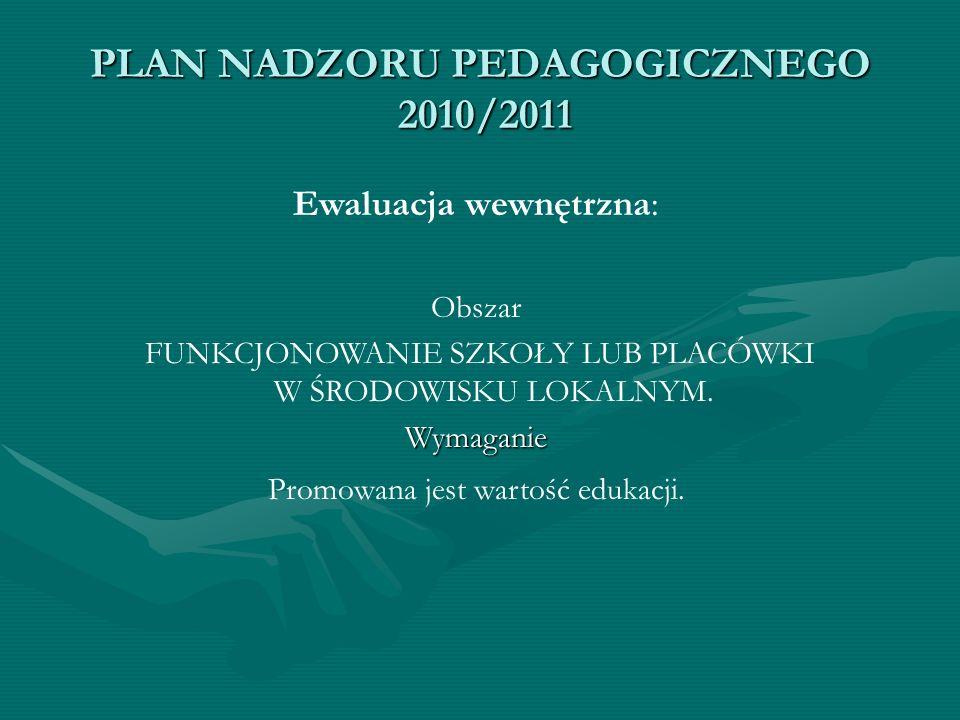 PLAN NADZORU PEDAGOGICZNEGO 2010/2011 Ewaluacja wewnętrzna: Obszar FUNKCJONOWANIE SZKOŁY LUB PLACÓWKI W ŚRODOWISKU LOKALNYM.Wymaganie Promowana jest w