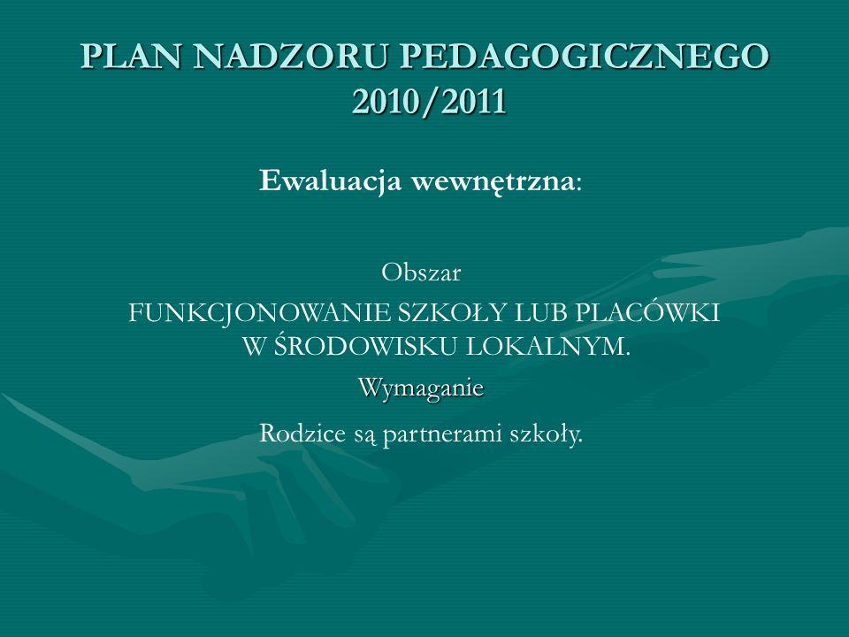 PLAN NADZORU PEDAGOGICZNEGO 2010/2011 Ewaluacja wewnętrzna: Obszar FUNKCJONOWANIE SZKOŁY LUB PLACÓWKI W ŚRODOWISKU LOKALNYM.Wymaganie Rodzice są partn