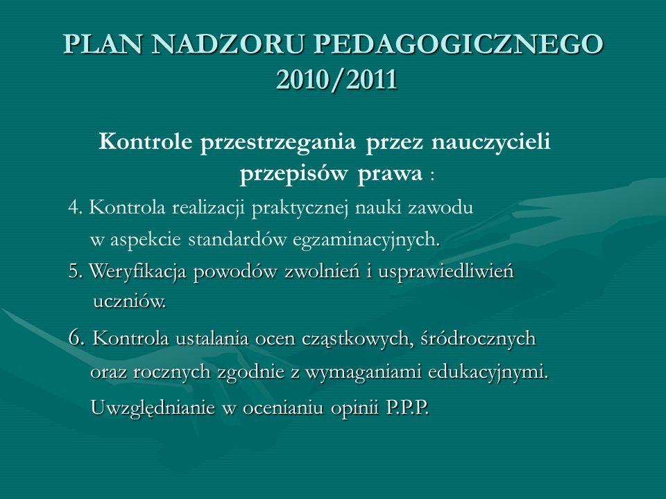 PLAN NADZORU PEDAGOGICZNEGO 2010/2011 Kontrole przestrzegania przez nauczycieli przepisów prawa : 4. Kontrola realizacji praktycznej nauki zawodu. w a