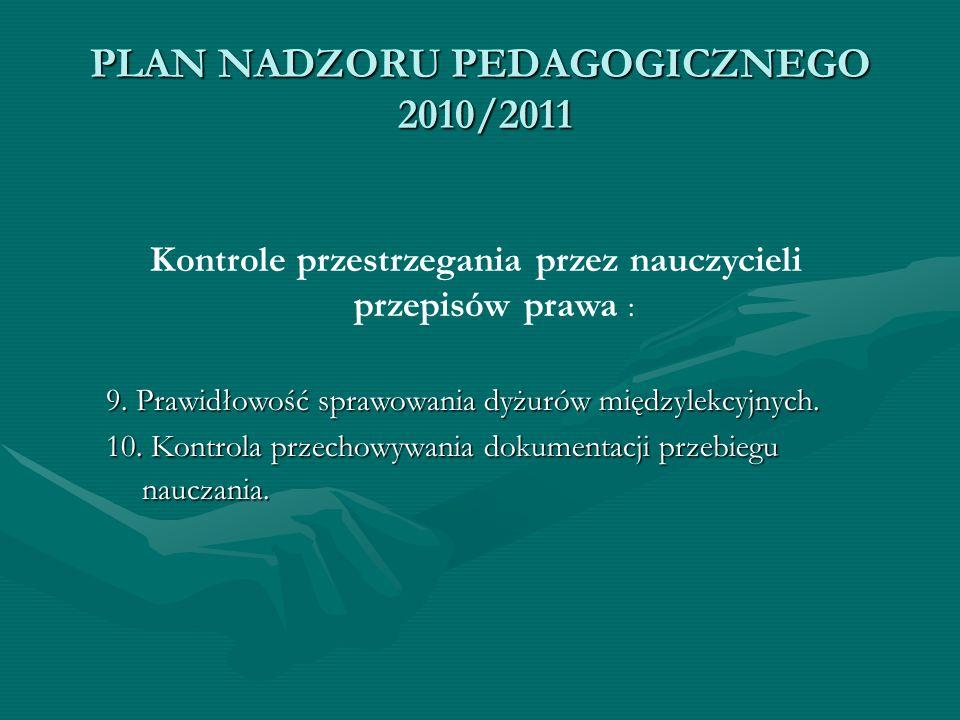 PLAN NADZORU PEDAGOGICZNEGO 2010/2011 Kontrole przestrzegania przez nauczycieli przepisów prawa : 9. Prawidłowość sprawowania dyżurów międzylekcyjnych