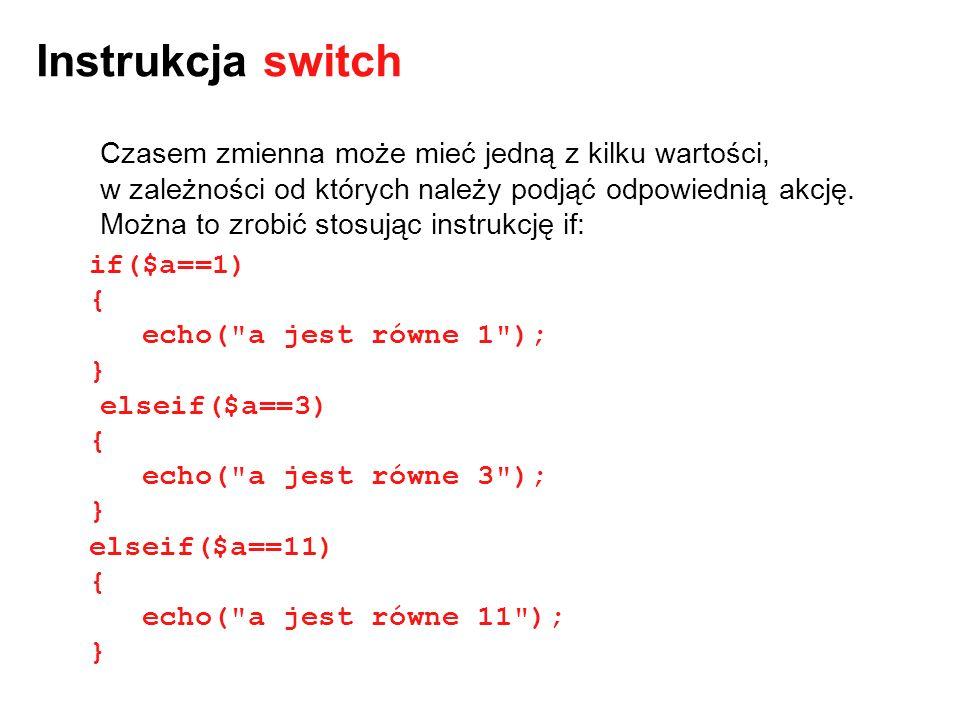 Instrukcja switch Czasem zmienna może mieć jedną z kilku wartości, w zależności od których należy podjąć odpowiednią akcję. Można to zrobić stosując i