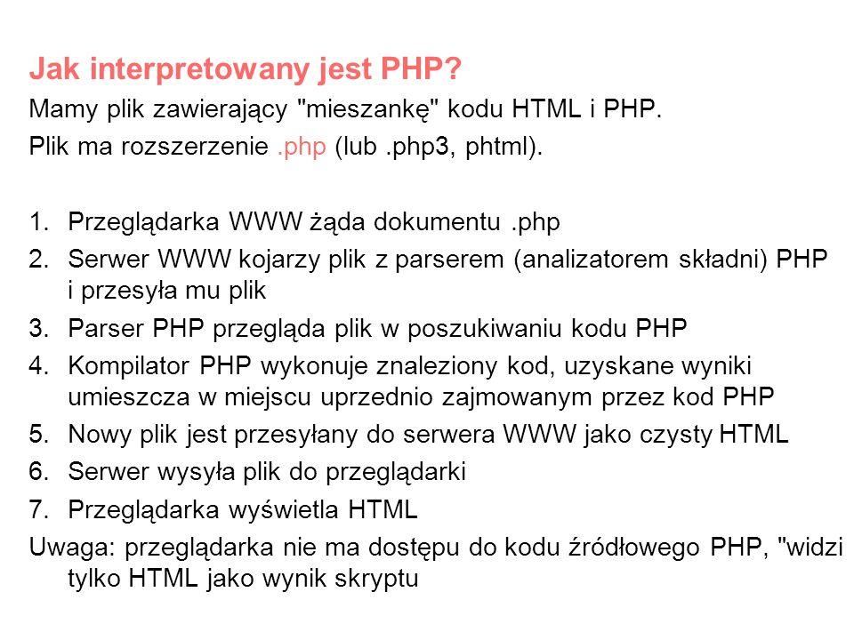 Składnia PHP Znaczniki otwierające i zamykające PHP Odstępy w skryptach PHP nie mają znaczenia, zwiększają jedynie czytelność.
