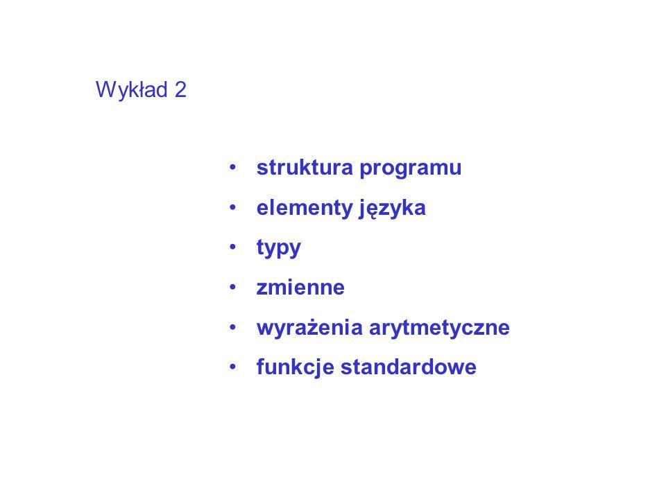Wykład 2 struktura programu elementy języka typy zmienne wyrażenia arytmetyczne funkcje standardowe