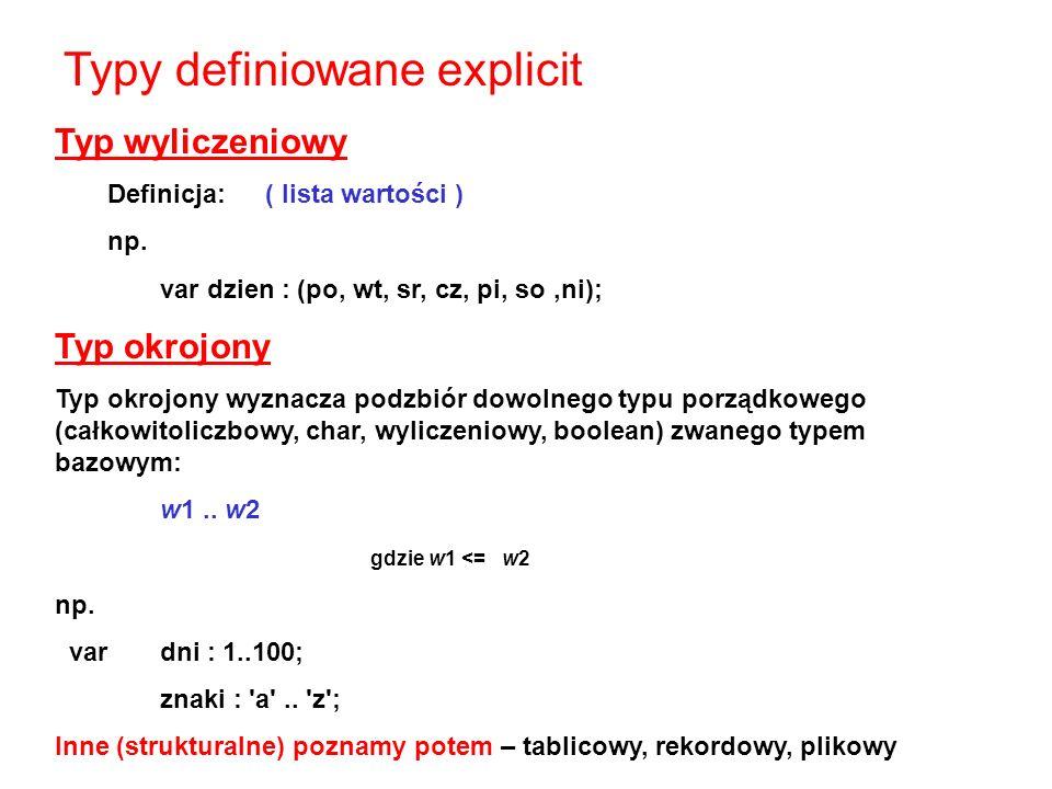 Typ wyliczeniowy Definicja:( lista wartości ) np.