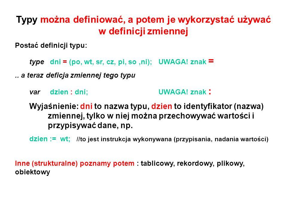 Typy można definiować, a potem je wykorzystać używać w definicji zmiennej Postać definicji typu: type dni = (po, wt, sr, cz, pi, so,ni); UWAGA! znak =