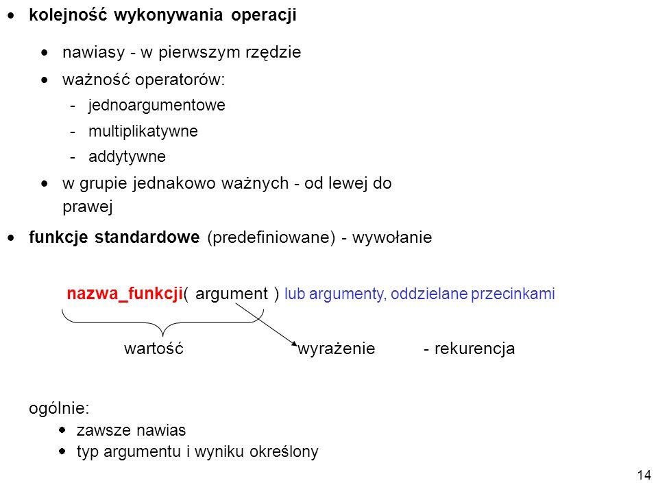 kolejność wykonywania operacji nawiasy - w pierwszym rzędzie ważność operatorów: -jednoargumentowe -multiplikatywne -addytywne w grupie jednakowo ważnych - od lewej do prawej funkcje standardowe (predefiniowane) - wywołanie nazwa_funkcji( argument ) lub argumenty, oddzielane przecinkami wyrażenie - rekurencja ogólnie: zawsze nawias typ argumentu i wyniku określony wartość 14