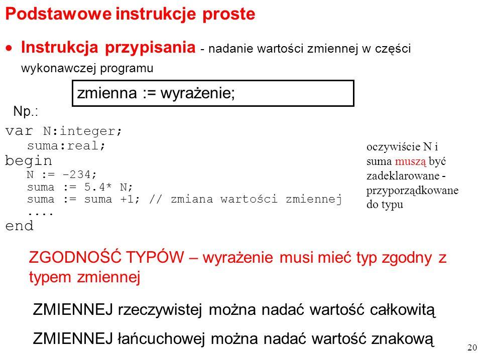 Instrukcja przypisania - nadanie wartości zmiennej w części wykonawczej programu var N:integer; suma:real; begin N := -234; suma := 5.4* N; suma := suma +1; // zmiana wartości zmiennej....